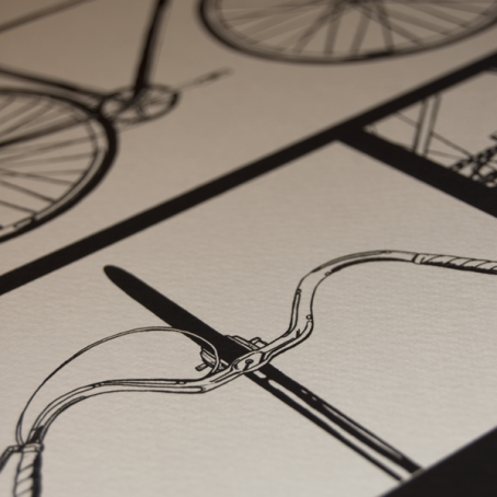 Half a Crown Illustration hand drawn print class bike traditional handle bars
