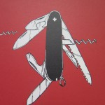 Half a Crown Illustrations Penknife hand drawn print red swiss army knife