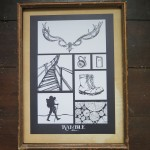 Half a Crown Illustration outdoor antlers walking ramble boots flask wood