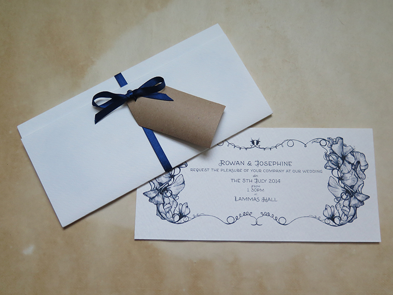 R&J Wedding Invitations Sweet Peas 2