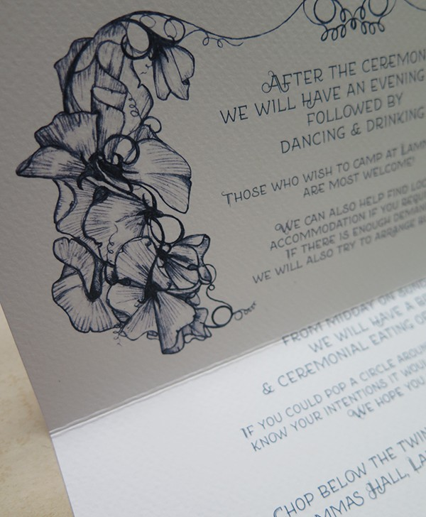 R&J Wedding Invitations Sweet Peas 4