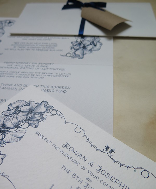 R&J Wedding Invitations Sweet Peas 6